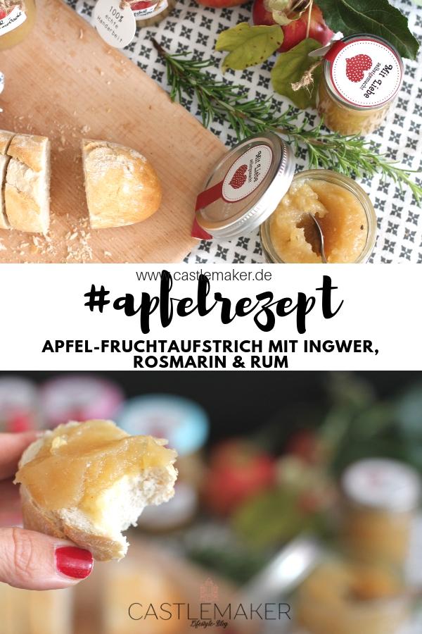 Rezept Apfel Fruchtaufstrich mit Rosmarin, Ingwer, Rum Apfel-Marmelade Apfelrezept Castlemaker Foodblog