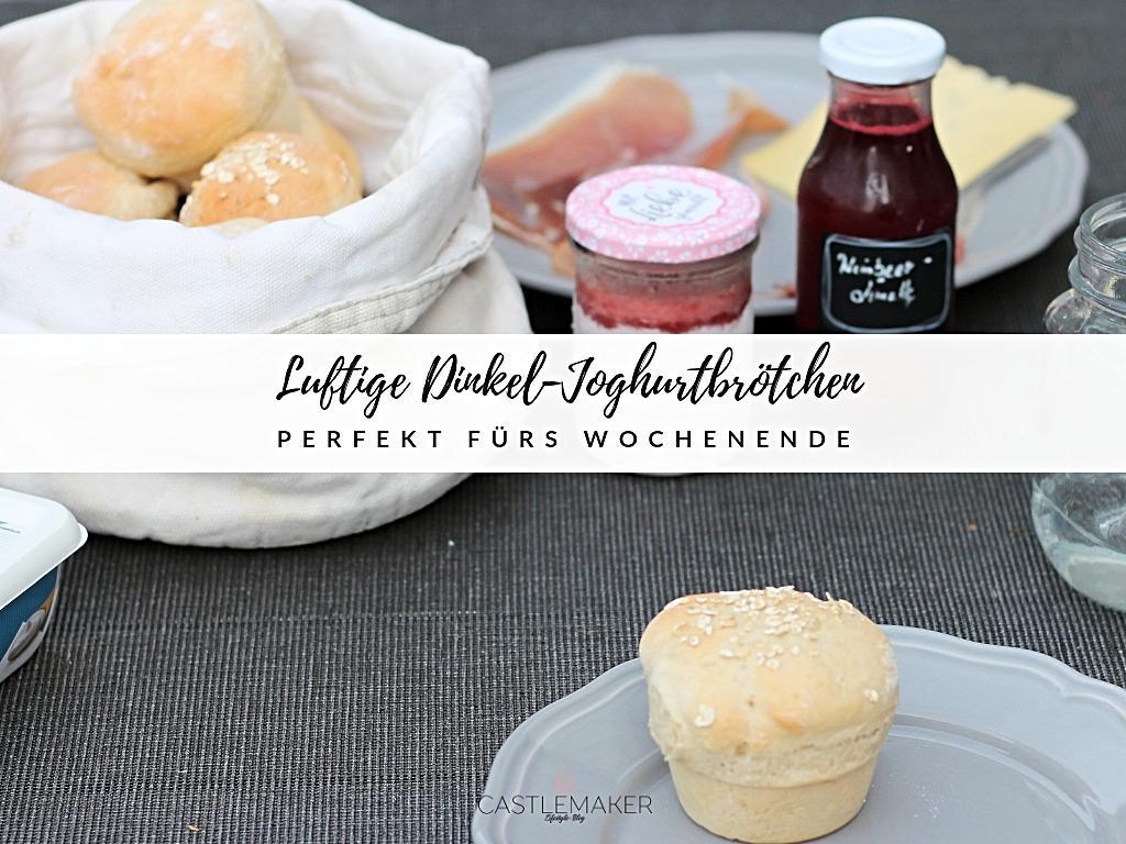Dinkel-Joghurtbrötchen mit selbstgemachter Erdbeer-Limetten-Marmelade